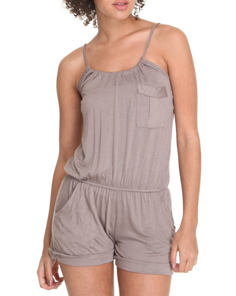 Basic Essentials Women Brown Romper W/ Pocket