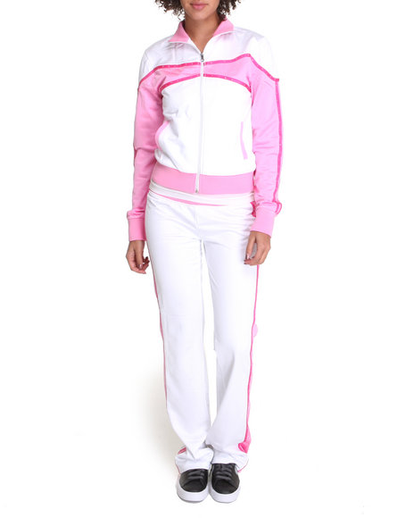 Basic Essentials Women Pink,White Track Suit Set W/ Studs