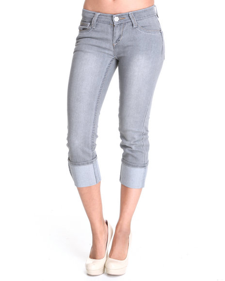 Basic Essentials Women Grey Denim Jean Capri