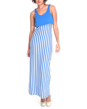 Basic Essentials - Verticle Stripe Maxi Dress w/bib