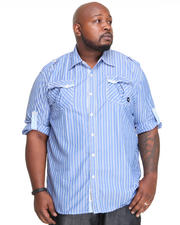 Big & Tall - Slick Roll Up Long Sleeve Plaid Woven Shirt (B&T)