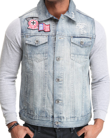 Southpole Men Light Blue Washed Denim Vest