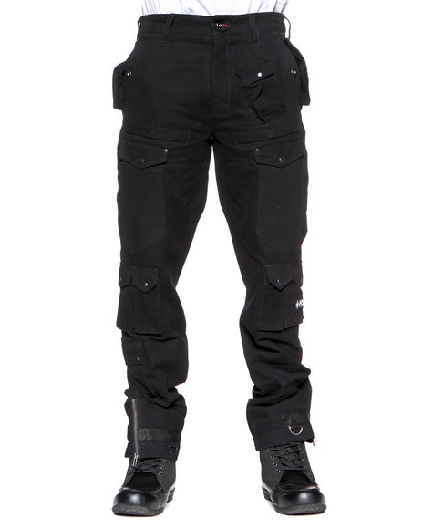 Psyberia Men Black Utilitarian Cargo Pants