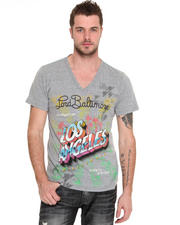 Shirts - Los Angeles Flocked V-Neck Tee