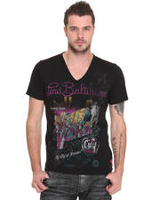 Shirts - New York Flocked V-Neck Tee
