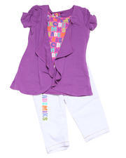 4-6X Little Girls - 2pc Knit Top with Capri Set
