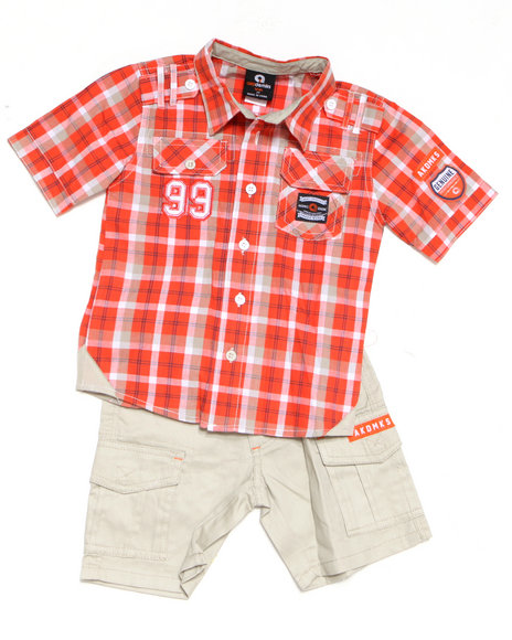 - 2-piece ASA Plaid Woven Short Set (TOD)