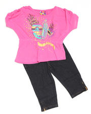 4-6X Little Girls - 2pc Hi Low Knit Top with Capri Set