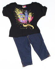 Girls - 2pc Hi Low Knit Top with Capri Set