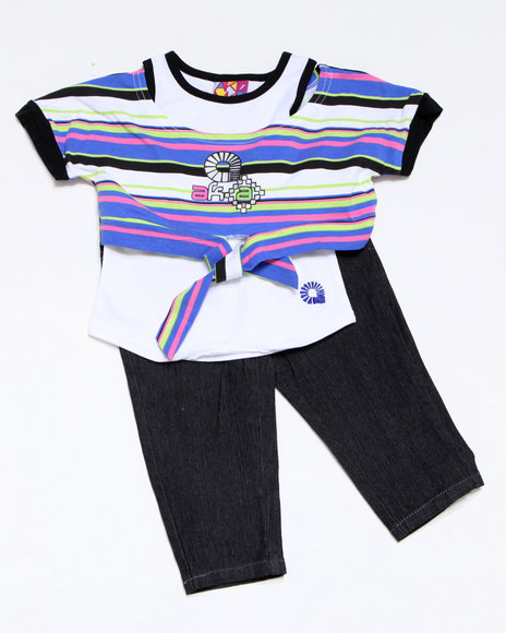 - 2pc Tie Knit Top with Capri Set