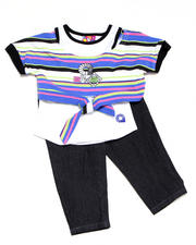 Girls - 2pc Tie Knit Top with Capri Set
