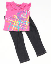 4-6X Little Girls - 2pc Short Sleeve Knit Top with Jean Set