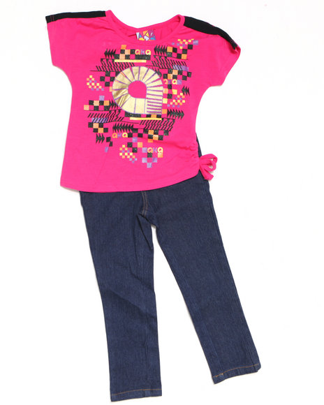- 2pc Side Tie Knit Top with Capri Set