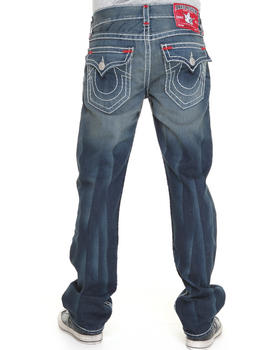 True Religion - Ricky Straight Leg Flap Back Pckt Jeans w/ Color Contrast Stitch Detail