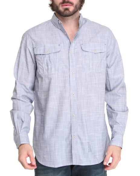 Rocawear Men Blue Slub Poplin Field L/S Button-Down