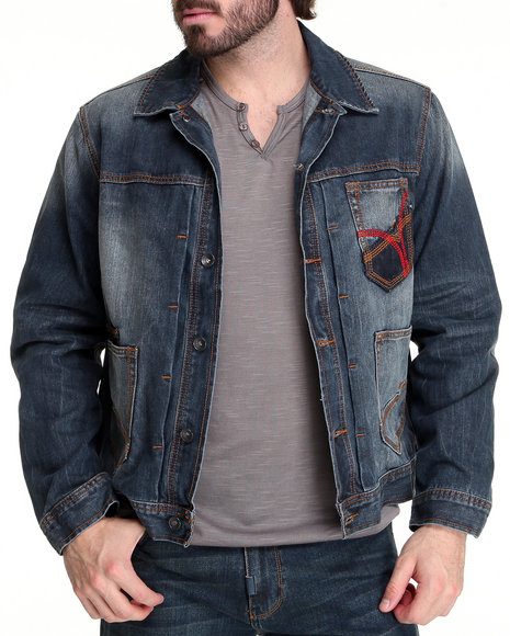 Rocawear Men Medium Wash Boss Denim Jacket