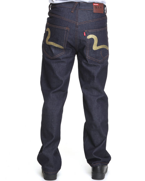 Buyers Picks Men Dark Wash,Gold Raw Denim Jeans W/ Back Pocket Print