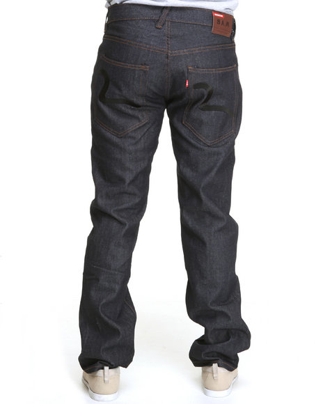 Buyers Picks Men Black,Dark Wash Raw Denim Jeans W/ Back Pocket Embroidery