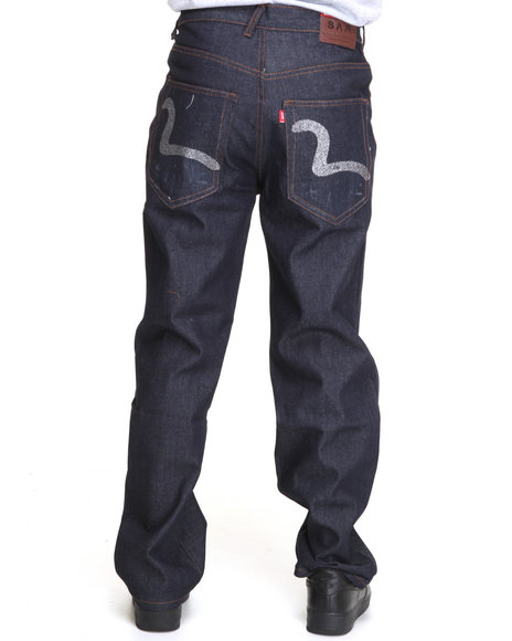 raw denim jeans w/ back pocket print