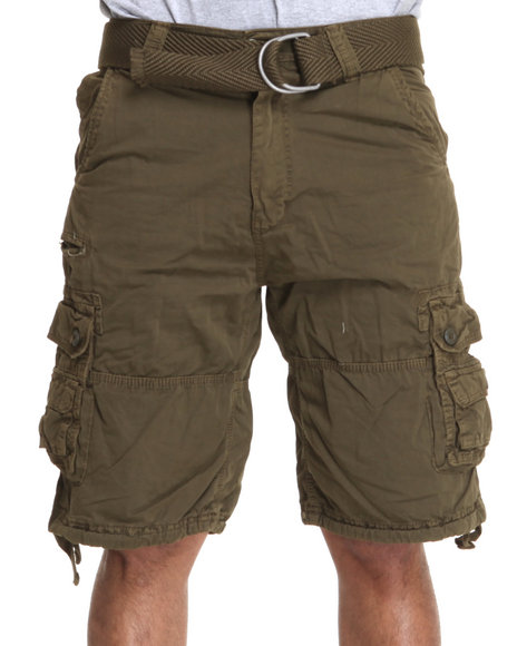 Buyers Picks Men Green Poplin Belted Cargo Shorts
