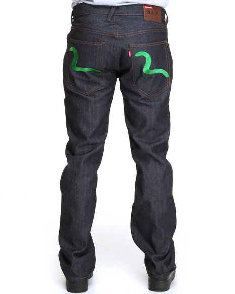 Buyers Picks Men Dark Wash,Green Raw Denim Jeans W/ Back Pocket Embroidery