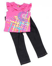 4-6X Little Girls - 2pc V Neck Knit Top with Jean Set
