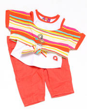 4-6X Little Girls - 2pc Tie Knit Top with Capri Set
