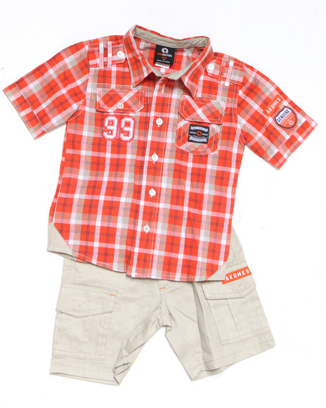 - 2pc ASA Plaid Woven Short Set (8-20)