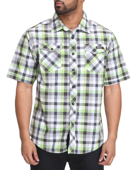Enyce Men Lime Green,Grey Surf S/S Button-Down