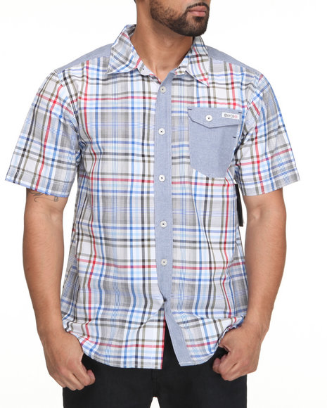 Enyce Men Multi,White Road Trip Short Sleeve Woven