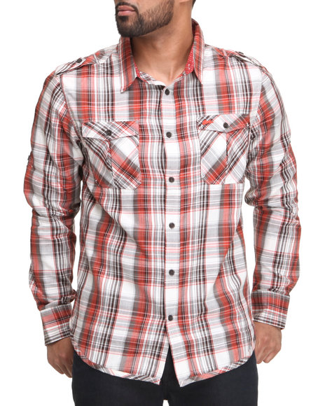 A Tiziano Men Red,White Pointers Long Sleeve Woven