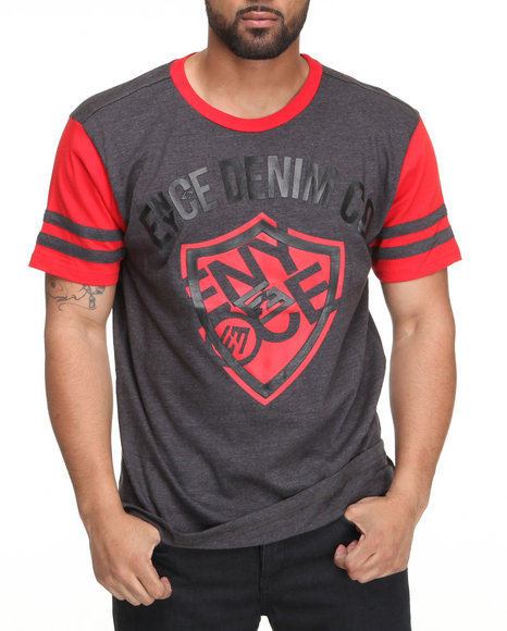 Enyce Men Charcoal,Red Shield Short Sleeve Crew Neck