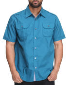 Men - Double Pocket Solid S/S Button Down