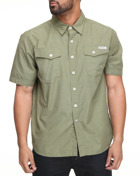 Enyce Men Forest Green Highway Short Sleeve Woven