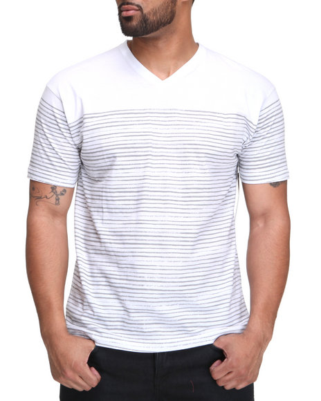 Buyers Picks Men White Thin Stripe Vneck Tee