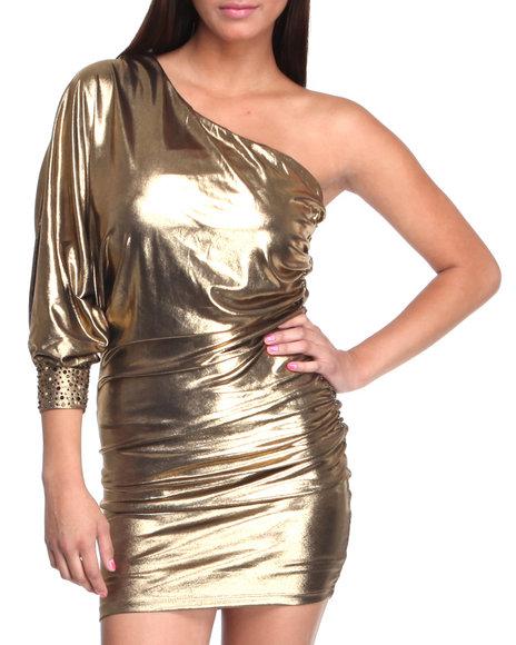 Baby Phat Women Gold One Shoulder Foil Dress