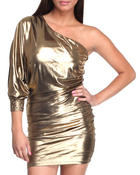 Women - ONE SHOULDER FOIL DRESS