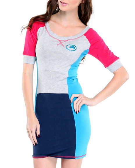 Ecko Red Women Grey,Pink Heavy Stretch Color Block Active Dress