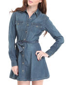 Women - Denim button down dress w/rolled up sleeves belt