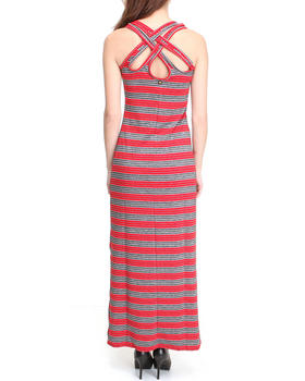 Apple Bottoms - Striped Maxi Twisted Back Dress