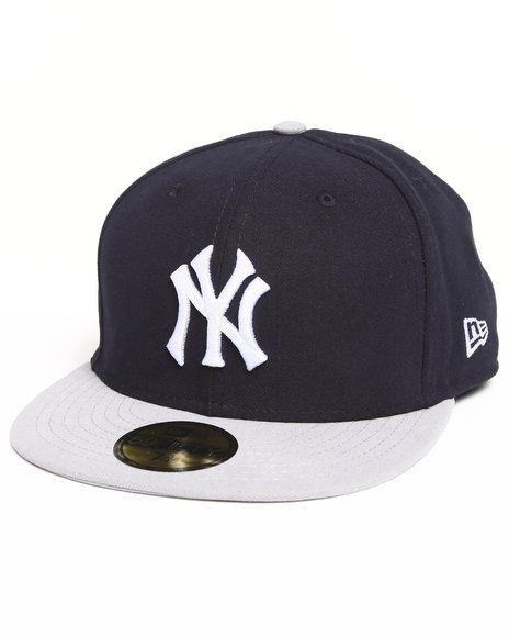 New Era - Men Black,Grey New York Yankees 2 Side Patch 5950 Fitted Hat