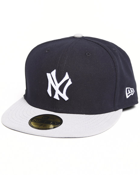 New Era - Men Black, Grey New York Yankees 1 Side Patch 5950 Fitted Hat