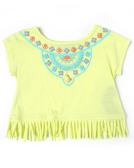 Baby Phat Girls Lime Green Aztec Fringe Top (2T-4T)