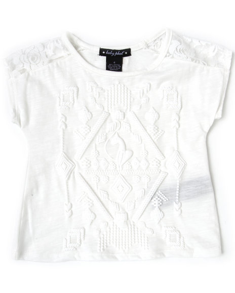 Baby Phat Girls Cream Feather Print Top W/ Lace (4-6X)