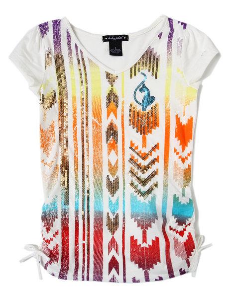 Baby Phat Girls Cream Aztec Sequin Print Tee (7-16)