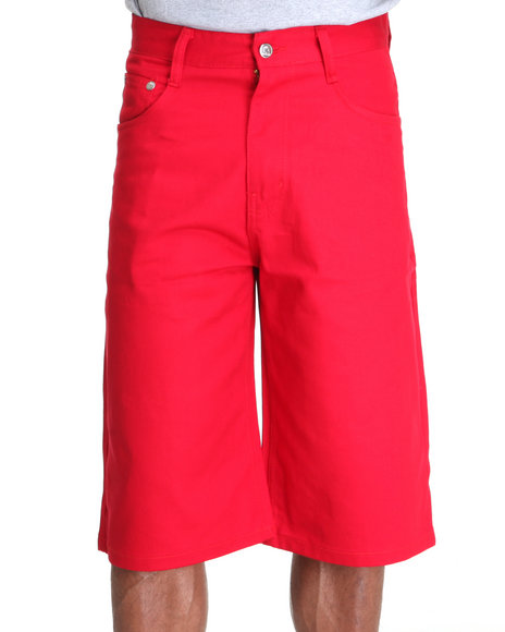 Akademiks Men Red Steady Colour Twill Shorts
