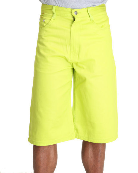 Akademiks Men Lime Green Steady Colour Twill Shorts