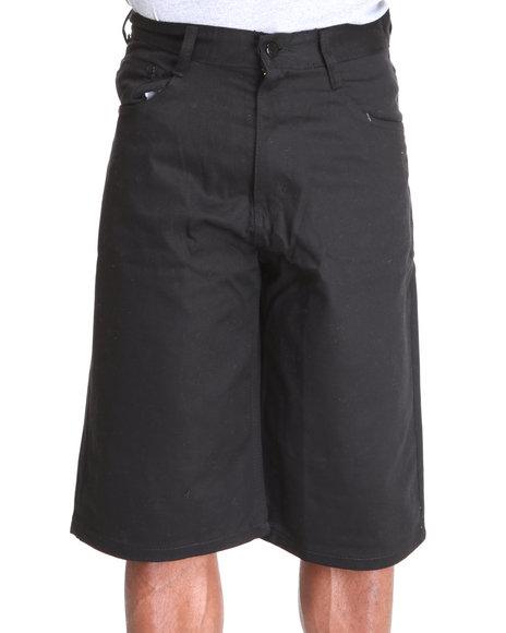 Akademiks Men Black Steady Colour Twill Shorts