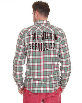 True Religion - Plaid Light Flannel  Shirt w/ Embroidered & Flocked Detail