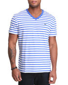 Lacoste Live - S/S V-Neck Striped Tee